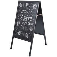 Bi-Office A-Frame Chalkboard, W600 x H1200mm, Black