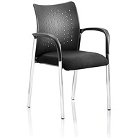 Academy Visitor Chair, With Arms, Plastic Back, Black