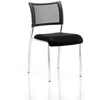Brunswick Visitor Chair, Chrome Frame, Black