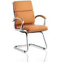 Classic Visitor Cantilever Chair, Leather, Tan, Built