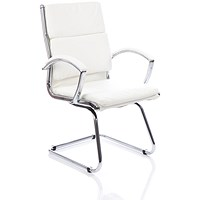 Classic Visitor Cantilever Chair, Leather, White, Built