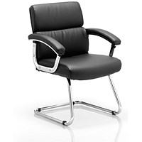 Desire Visitor Cantilever Chair, Leather, Black, Built