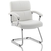 Desire Visitor Cantilever Leather Chair - White
