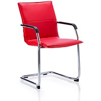 Echo Visitor Cantilever Leather Chair - Red