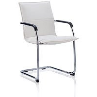 Echo Visitor Cantilever Leather Chair - White