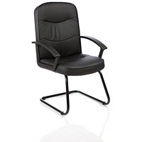 Harley Leather Cantilever Visitor Chair, Black, Built