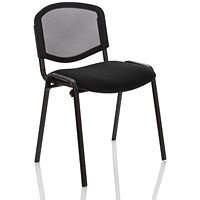 ISO Black Frame Stacking Chair - Mesh Back Black Fabric