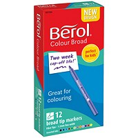 Berol Colour Broad Pens with Washable Ink, 1.7mm Line, Wallet of 12 Assorted Colours
