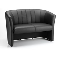 Neo Twin Seat Leather Tub Sofa - Black