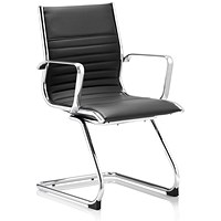 Ritz Leather Cantilever Chair - Black