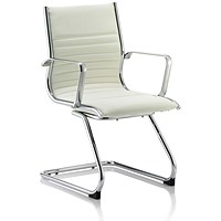 Ritz Leather Cantilever Chair - Ivory