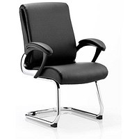 Romeo Leather Visitor Chair, Black, Built