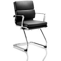 Savoy Leather Visitor Chair, Black, Built