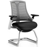 Flex Visitor Chair / White Frame / Black Seat / Grey Back