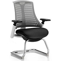 Flex Visitor Chair / White Frame / Black Seat / Grey Back / Built