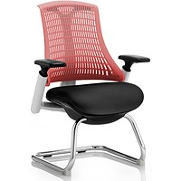 Flex Visitor Chair / White Frame / Black Seat / Red Back