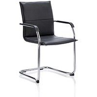 Echo Visitor Cantilever Leather Chair - Black