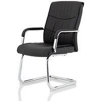 Carter Luxury Faux Leather Cantilever Chair - Black