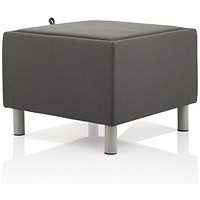 Melia Fabric Footstool With Melamine Top - Grey
