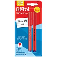 Berol Handwriting Blue Pen Blister Card (Pack of 24)