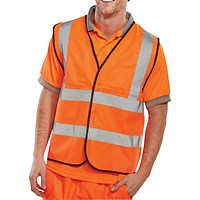 Proforce Hi-Visibility Vest, Class 2, Extra Large, Orange