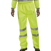Hi-Viz Trousers EN ISO20471 Yellow Size Large (100% polyester with breathable PU coating)