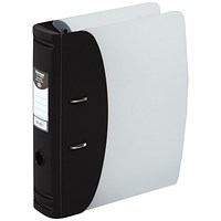 Hermes A4 Plastic Lever Arch File, 80mm Spine, Black