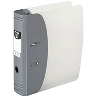 Hermes A4 Lever Arch File, Plastic, 80mm Spine, Metallic Silver