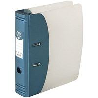 Hermes A4 Plastic Lever Arch File, 80mm Spine, Metallic Blue