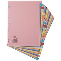 Elba 20-Part Card Divider Recycled Manilla A4 Assorted