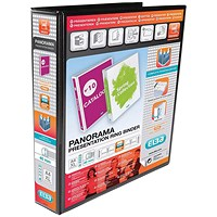 Elba Panorama Presentation Binder, A4, 4 D-Ring, 40mm Capacity, Black, Pack of 6
