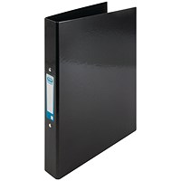 Elba Ring Binder, A4+, 2 O-Ring, Gloss Finish, 25mm Capacity, Black