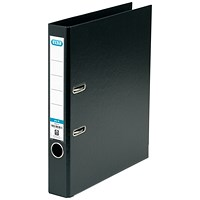 Elba 50mm Lever Arch File Plastic A4 Black