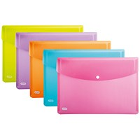 Elba A4 Snap Plastic Wallets, Assorted, Pack of 5