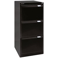 Bisley Foolscap Filing Cabinet, 3-Drawer, Black