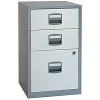 Bisley 3 Drawer A4 Home Filer Silver/White BY00587