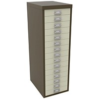 Bisley 15 Drawer A4 Cabinet Coffee/Cream H3915NL-005006