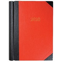 Collins 2020 A4 Luxury Desk Diary, 2 Pages Per Day, Red