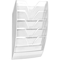 CEP Wall File 5 Compartment White/Crystal