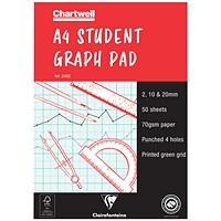 Chartwell Graph Pad, A4, 2/10/20mm Squares, 50 Hole-punched Sheets