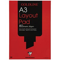 Goldline Layout Pad, A3, 50gsm, 80 Sheets