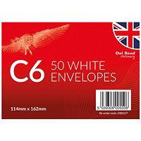 C6 White Envelopes - 12 packs of 50 Envelopes