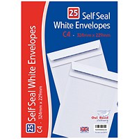 C4 Self Seal Envelopes x 25 White (Pack of 20)