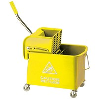 Mobile Mop Bucket and Wringer 20 Litre Yellow 101248YL