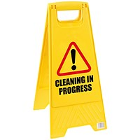 Caution Folding Safety Sign - 2-sided - Yellow (1 Sign)