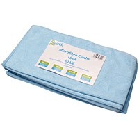 2Work Microfibre Cloth, Blue, Pack of 10