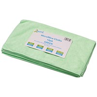 2Work Green 400x400mm Microfibre Cloth (Pack of 10) 101161GN