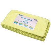 2Work Microfibre Cloth, Yellow, Pack of 10
