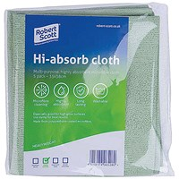 Robert Scott Hi-Absorb Microfibre Cloth Green (Pack of 5) 103986GREEN