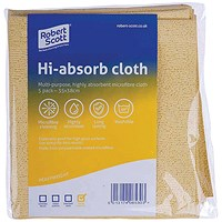 Robert Scott Hi-Absorb Microfibre Cloth Yellow (Pack of 5) 103986YELLOW